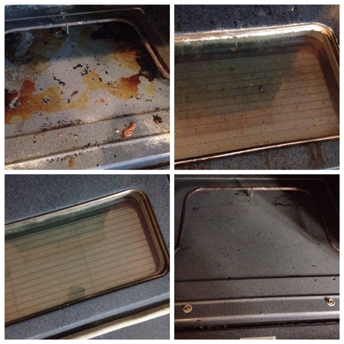before and after of clean oven