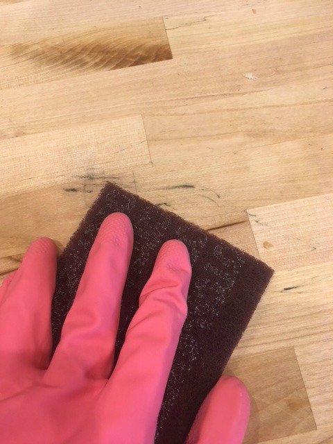 sanding butcher block