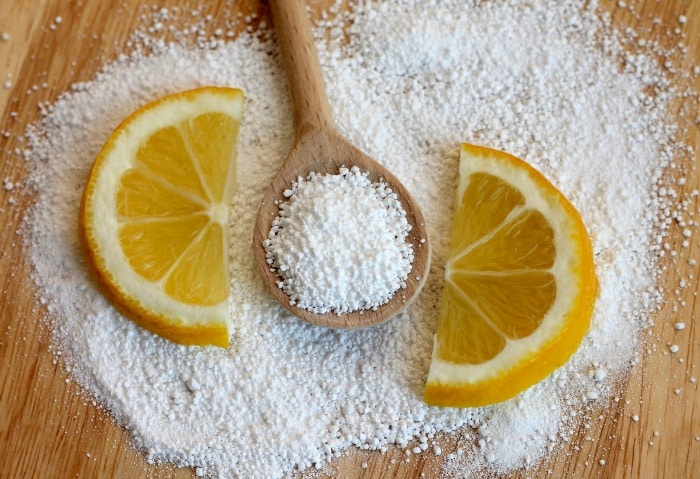 citric acid to remove white film from dishes