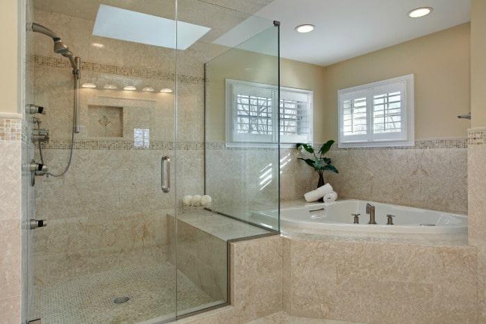 bathroom shower clean with homemade shower spray